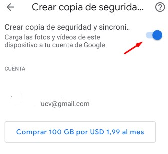Crear copia de seguridad y sincronización google